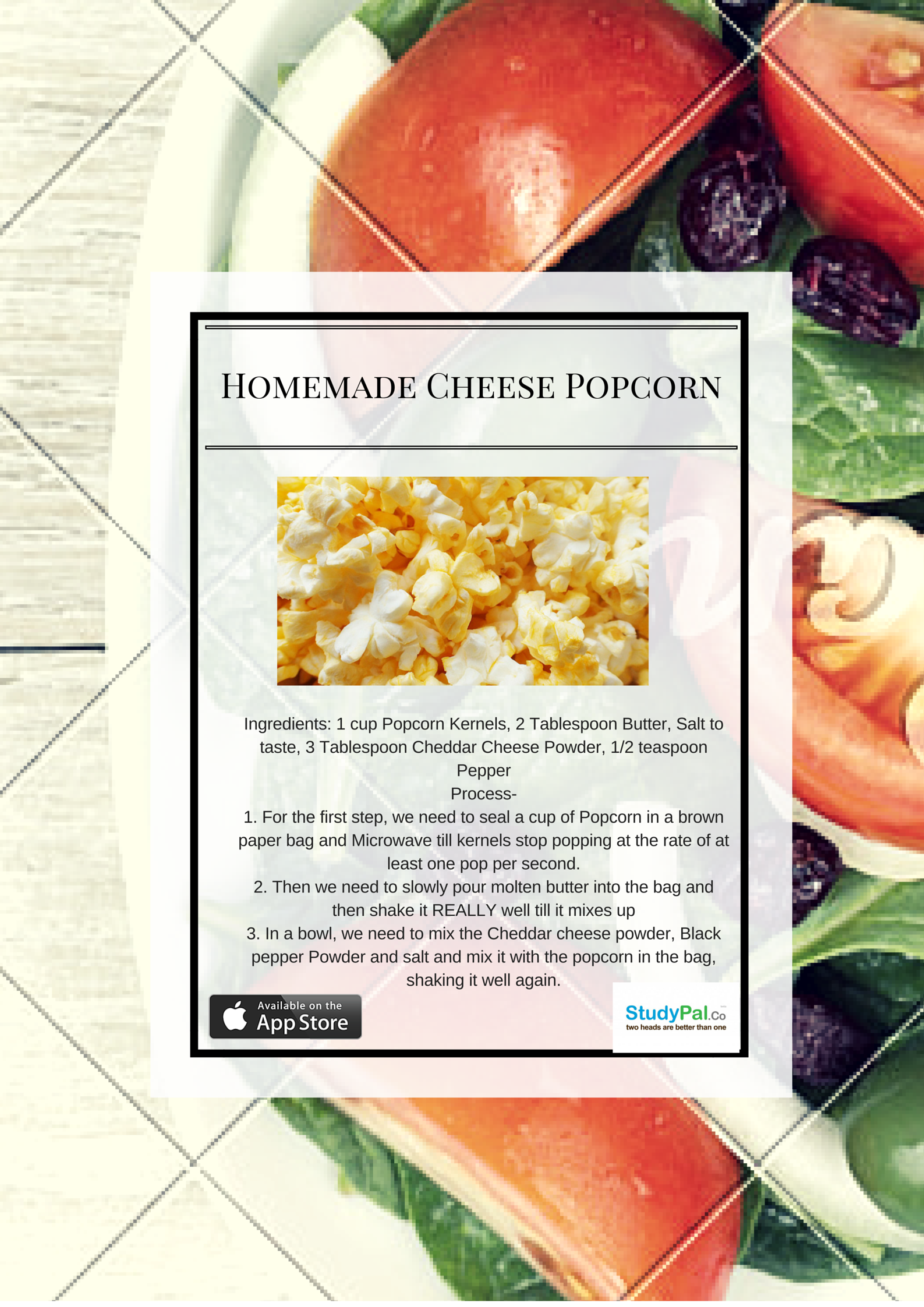 Okay, so you want to gorge on something that's delicious, but without the guilt of eating greasy junk food. It is surprising how easy it is to make your favorite Cheese Popcorn in just a few easy steps.